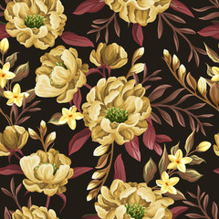 Floral seamless pattern with yellow peonies