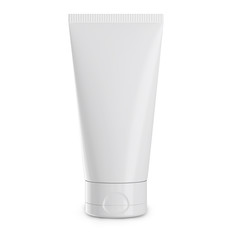 White cream tube isolated on white. Plastic mockup container for gel, lotion.cosmetics etc.