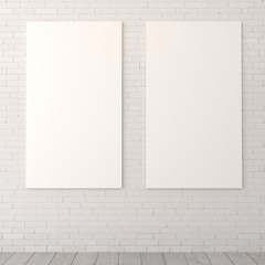 Blank diptych on a brick wall
