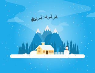 Christmas winter landscape with a house in the forest. Snowy evening village in the forest on a background of mountains. Christmas snowman. Flat vector illustration