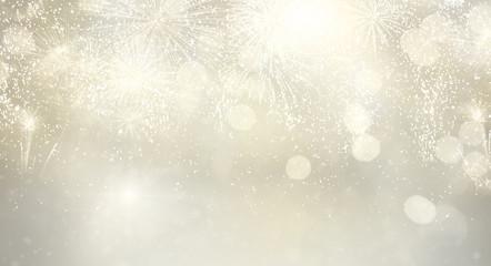 Fototapeta Abstract festive silver winter bokeh background with fireworks and bokeh lights banner obraz