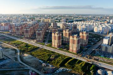 Bird eye view on residential neighborhood. Tyumen