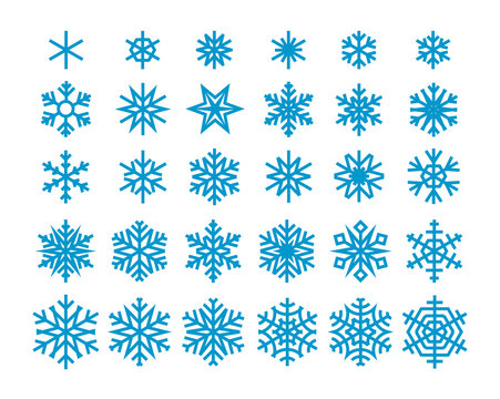 Snowflakes isolated on white background. Vector clipart