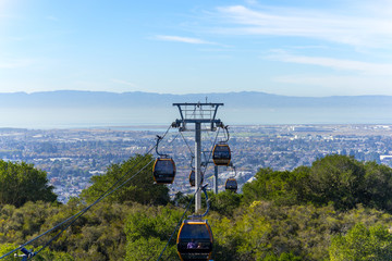 panoramic cable car view of the Oakland and San Francisco