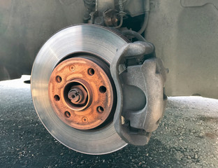 Close-up Disc Braking System of a Car