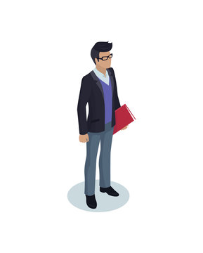 Office Worker Businessman Isolated Isometric Icon