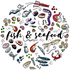 Fish and seafood hand drawn design