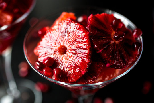 Close up of fruits served in glass