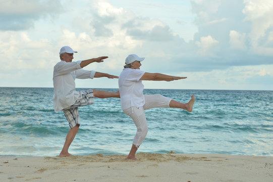 Portrait of happy elderly couple on tropical beach exercising