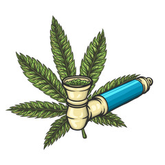 Cannabis leaf with pipe. Vector eps10 isolated illustration.