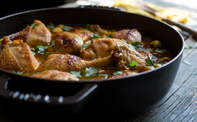 Close up of chicken in casserole