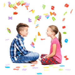 Cute children with large colorful alphabet letters on white background. Kids speech therapy concept. Speech impediment, logopedy background.
