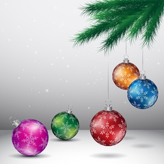 Grey Christmas Background with Glossy Colorful Balls Vector Illustration