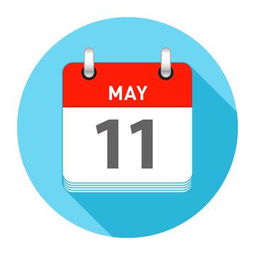 May 11 Single Day Calendar Flat Style