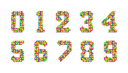 Cartoon Isolated tiles numbers set. Vector set of 1-9 digit baby icons. Colorful numeral alphabet. 3d bright digits.