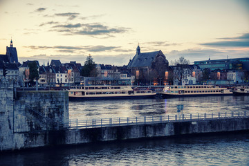 Maastricht, evening view from Wilhelmina brug