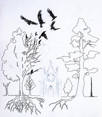 Crow flying over the forest. Roots and crown of trees in the forest, Mysterious castle in the forest. Figure pens and pencils