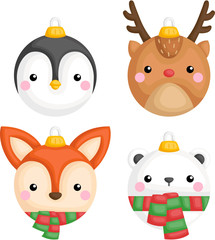 a vector of cute animals christmas ornament