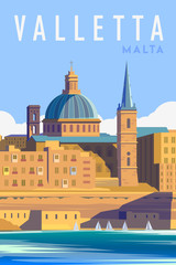 Vector art deco retro poster. Valletta Malta.