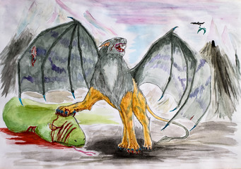 Fantastic winged lion killed the green serpent. Non-existent predatory animals drawing watercolor