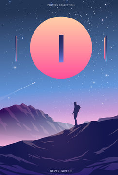 Surreal vector poster. Motivation and success. Never give up