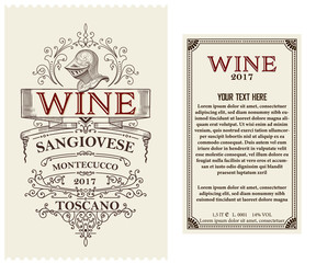 Vintage wine label with heraldic element. Vector layered