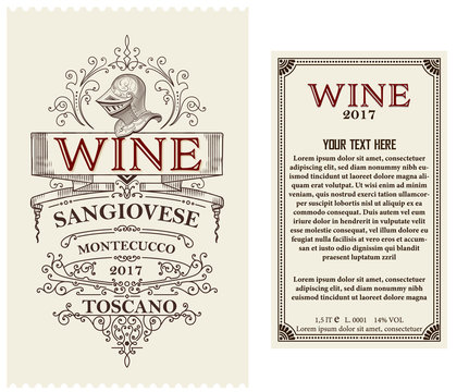 Vintage wine label with heraldic element. Vector layered