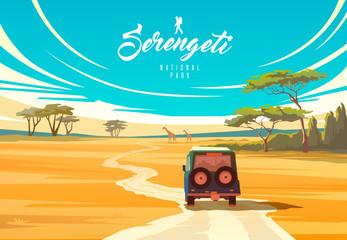 Obraz The Serengeti national park. Nature of Tanzania. Savannah. - fototapety do salonu