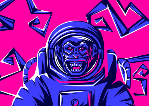 Angry monkey head in spacesuit.