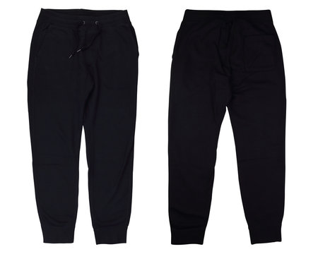 Front and back view black sweatpants