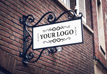 Outdoor Sign on Building Mockup