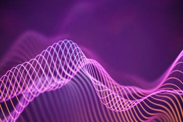 3D Sound waves. Big data abstract visualization. Digital technology concept: virtual landscape. Futuristic background. Pink sound waves, visual audio waves equalizer, EPS 10 vector illustration.
