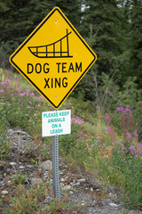 Dog Team Xing - Dog Sled team crossing road sign in Alaska - Portrait view