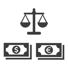 Scales icon and money icon on white background.