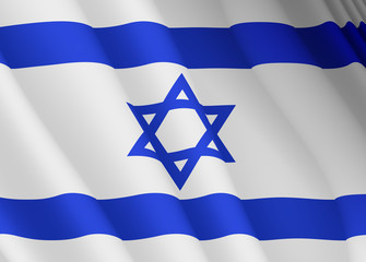 Illustration of a flying Israeli flag