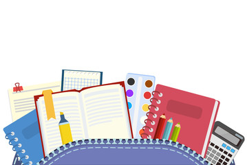 School. Knapsack and school subjects for teaching and education of schoolchildren. Vector illustration