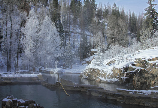 Strawberry Park Hot Springs natural hot springs in winter