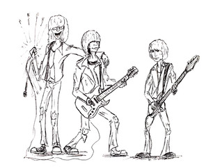 Rock band, singer and two guitarists. Figure gel pen. Vintage rock punk band