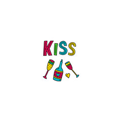 Kiss lettering with wine and glasses