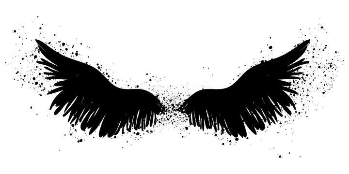 Black splattered wings, vector