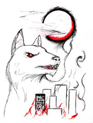 The city is on fire and the bloody moon. Image of a wolf on the background of the city