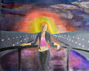 The girl at the Meryl bridge across the water channel. Sunset over the city river. Drawing watercolor on black paper.