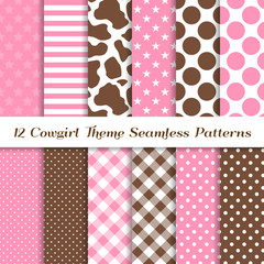 Cowgirl Theme Seamless Vector Patterns with Cow Skin Print, Pink and Brown Gingham, Polka Dots, Stripes and Stars Backgrounds. Perfect for kids birthday party! Pattern Tile Swatches Included