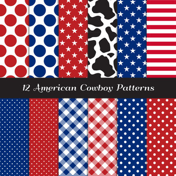 American Cowboy Seamless Pattern Pack with Cow Skin Print and Patriotic Red, White, Blue Stars, Stripes, Gingham and Polka Dots. Perfect for 4th of July BBQ. Vector Pattern Tile Swatches Included.