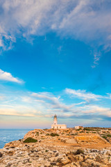 Sunset in Cavalleria Lighthouse on Minorca Island northern shore, Balearic Islands, Spain.