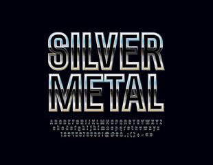 Metallic gradient Font. Vector set of Silver Alphabet Letters, Numbers and Symbols.
