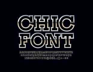 Chic Metallic Font. Vector Silver Shine Luxury Alphabet Letters.