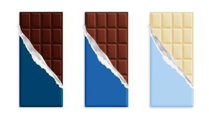 Milk chocolate bar in a blue wrapper