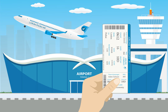 runway and take-off modern aircraft,hand holding boarding pass
