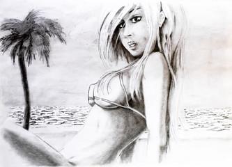 Woman with big breasts in a bikini on the sea beach. Big tits in a bikini. Pencil drawing of a girl on the beach.